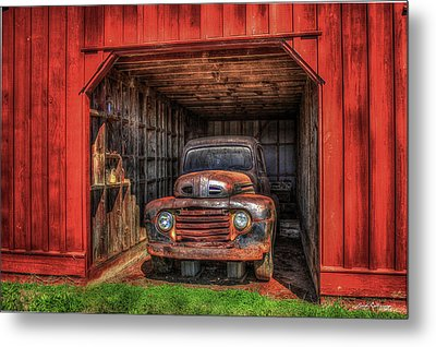 A Hiding Place 1949 Ford Pickup Truck Metal Print by Reid Callaway
