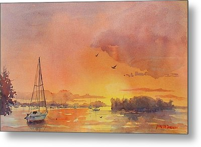 A Hingham Sunset Metal Print by Laura Lee Zanghetti