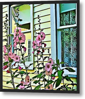 Metal Print featuring the digital art A Holly Hocks Morning by Mindy Newman