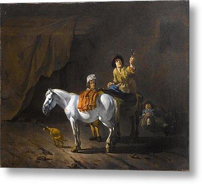 A Horseman Holding A Roemer Metal Print