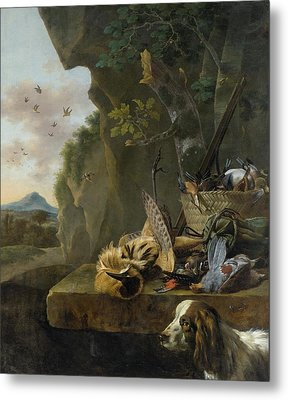 A Hunting Still Life With A Bittern And A Dog In A Landscape Metal Print by Jan Weenix