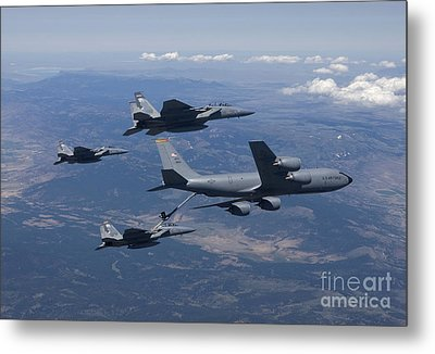 A Kc-135r Stratotanker Refuels Three Metal Print by HIGH-G Productions