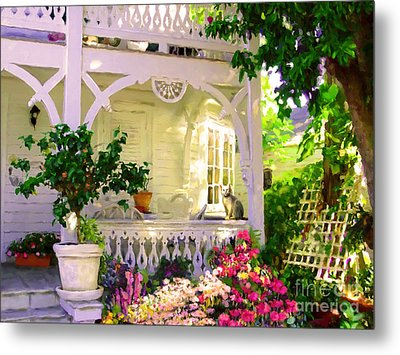 Metal Print featuring the painting A Key West Porch by David  Van Hulst