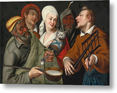 A Lady Holding A Swaddled Cat A Man With A Pan Of Porridge Another Playing With Fire Irons And Two O Metal Print by Circle of Bartolomeo Passerotti