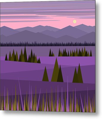 A Lake In The Mountains -  Pink Sky Metal Print
