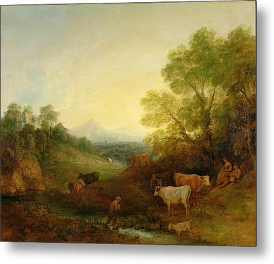 A Landscape With Cattle And Figures By A Stream And A Distant Bridge Metal Print