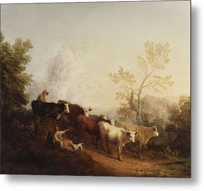 A Landscape With Cattle Returning Home Metal Print by Thomas Gainsborough