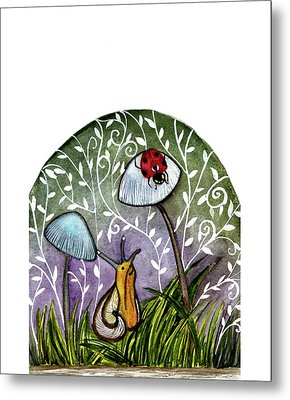 A Little Chat-ladybug And Snail Metal Print by Garima Srivastava
