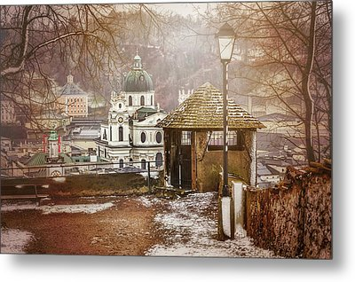 A Little Snow In Salzburg  Metal Print