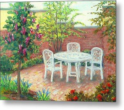 A Little Spring Patio  Metal Print by Nancy Heindl