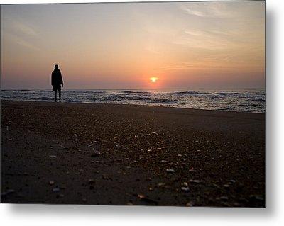 A Lone Figure Enjoys The Ocean Sunrise Metal Print by Stephen St. John