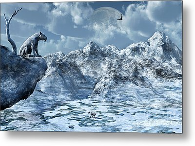 A Lone Sabre Toothed Tiger Perched Metal Print
