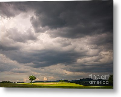 A Lone Tree Under A Stormy Sky Metal Print by Ning Mosberger-Tang