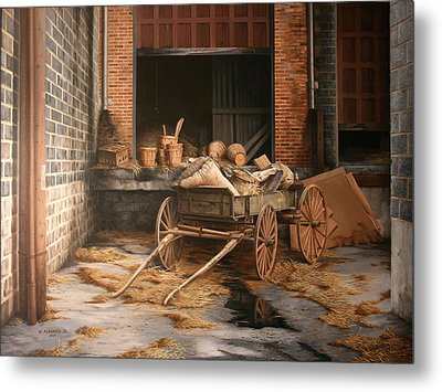 Metal Print featuring the painting A Look At The Past by William Albanese Sr