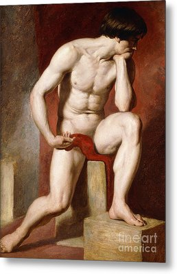 A Male Nude, Seated Full Length Metal Print by William Etty