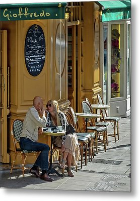 A Man A Woman A French Cafe Metal Print by Allen Sheffield