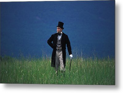 A Man Outstanding In His Field Metal Print by Carl Purcell