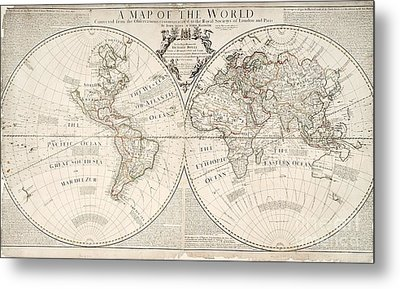 A Map Of The World Metal Print