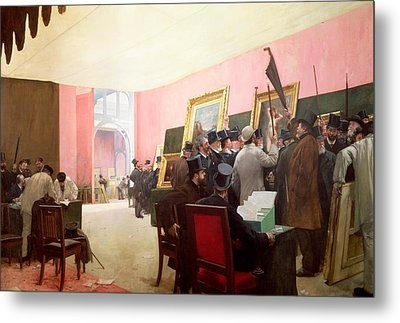 A Meeting Of The Judges Of The Salon Des Artistes Francais Metal Print by Henri Gervex