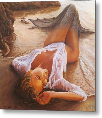 A Mermaid In The Sunset - Love Is Seduction Metal Print by Marco Busoni