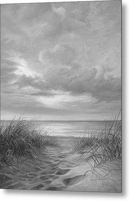 A Moment Of Tranquility - Black And White Metal Print by Lucie Bilodeau