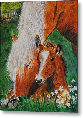 Metal Print featuring the painting A Mothers Love by Leslie Allen