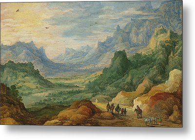 A Mountainous Landscape With Travellers And Herdsmen On A Path Metal Print by Jan Brueghel and Joos de Momper