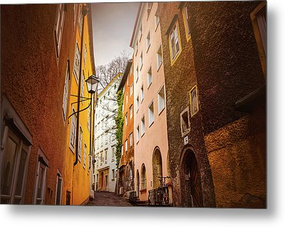 A Narrow Street In Salzburg  Metal Print