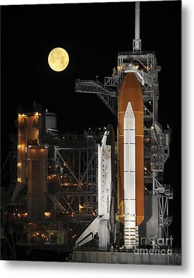 A Nearly Full Moon Sets As Space Metal Print by Stocktrek Images