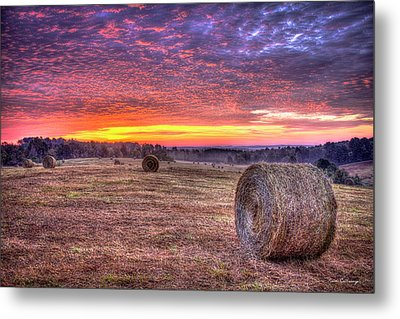 Metal Print featuring the photograph Before A New Day Georgia Hayfield Sunrise Art by Reid Callaway