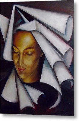 Metal Print featuring the painting A Nun by Irena Mohr