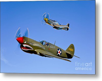 A P-40e Warhawk And A P-51d Mustang Metal Print by Scott Germain