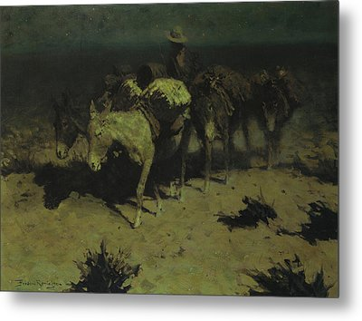 A Pack Train Metal Print by Frederic Remington