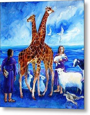 A Pair Of Giraffes Metal Print by Trudi Doyle