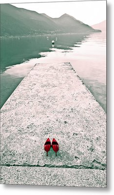 A Pair Of Red Women's Shoes Lying On A Walkway That Leads Into A Metal Print by Joana Kruse