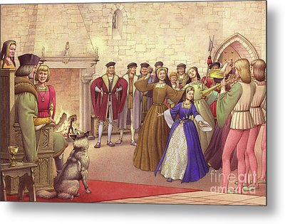 A Party Followed The Arrival Of Catherine Of Aragon In England To Be Married  Metal Print by Pat Nicolle