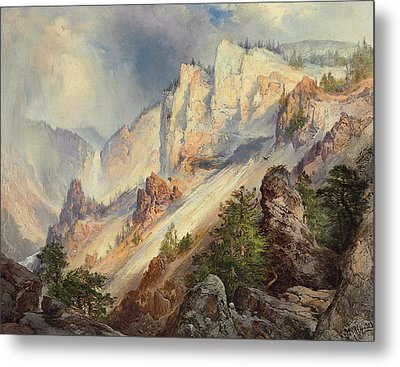 A Passing Shower In The Yellowstone Canyon Metal Print