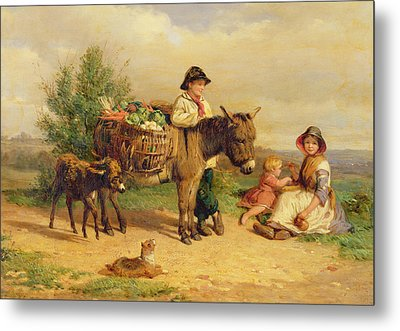 A Pause On The Way To Market Metal Print by J O Bank