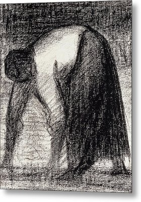 A Peasant Woman With Hands In The Ground Metal Print by Georges Pierre Seurat