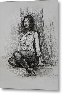 Metal Print featuring the drawing A Pensive Mood by Harvie Brown