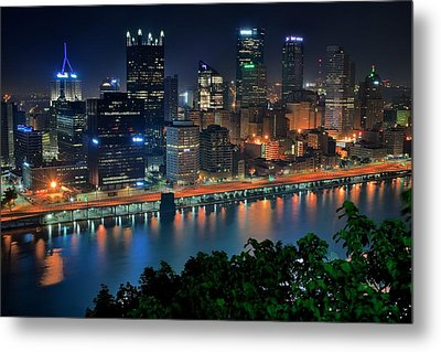 A Photographic Pittsburgh Night Metal Print by Frozen in Time Fine Art Photography