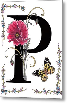 A Pink Poppy And A Painted Lady Butterfly Metal Print