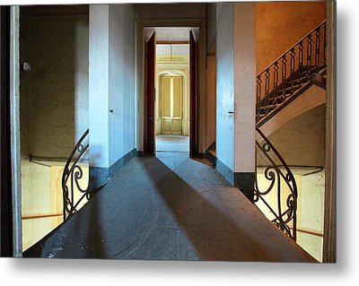 Metal Print featuring the photograph A Play Of Light On Ythe Stairway by Dirk Ercken