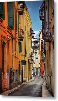 Metal Print featuring the photograph A Pretty Little Street In Verona Italy  by Carol Japp