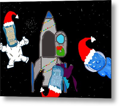 A Puppydragon Christmas In Space Metal Print by Jera Sky