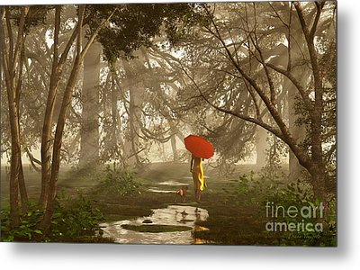 A Quiet Walk After A Rainy Day Metal Print