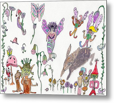 A Rabbit And Some Fairies Metal Print