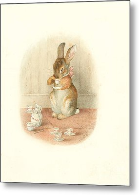 A Rabbit's Tea Party Metal Print