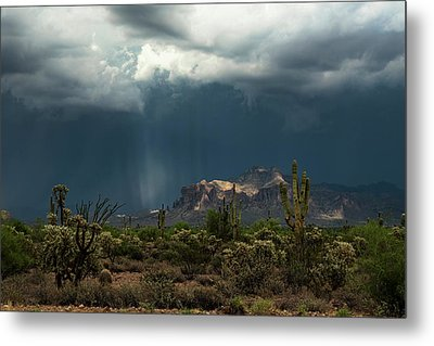 Metal Print featuring the photograph A Rainy Evening In The Superstitions  by Saija Lehtonen