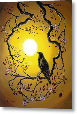 A Raven Remembers Spring Metal Print by Laura Iverson